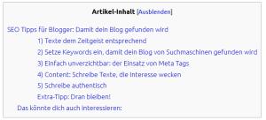 toc+ Inhaltsverzeichnis
