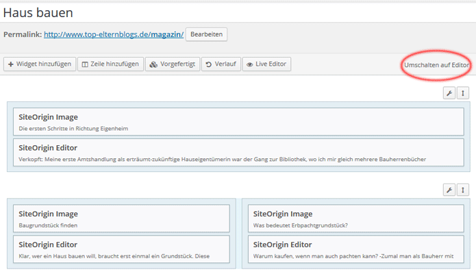backend von Siteorigin page builder